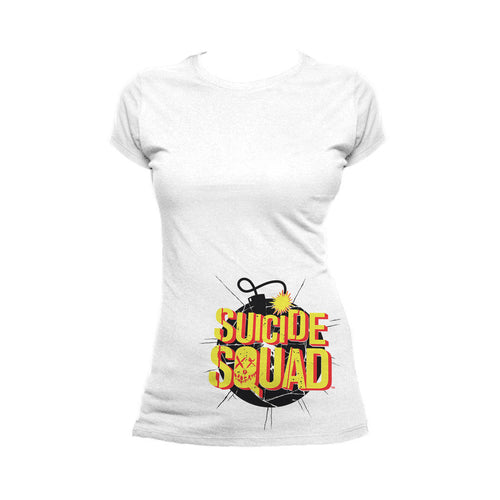 DC Suicide Squad Logo Bomb Official Women's T-shirt (White) - Urban Species Ladies Short Sleeved T-Shirt