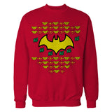 DC Comics Justice League Batman Xmas Pattern Ha Official Sweatshirt (Red)
