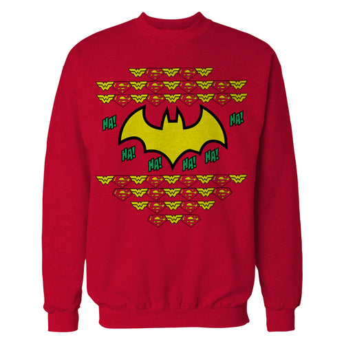 DC Comics Justice League Batman Xmas Pattern Ha Official Sweatshirt (Red) - Urban Species Sweatshirt