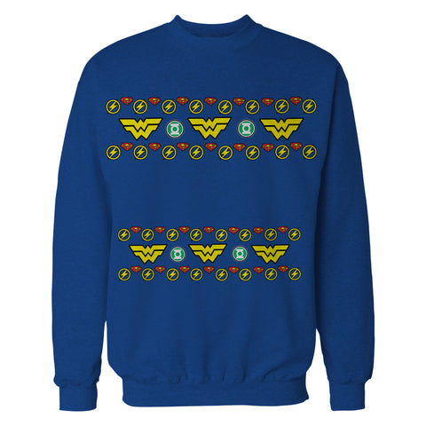 DC Comics Justice League Wonder Woman Xmas Pattern Tube Official Sweatshirt (Royal Blue) - Urban Species Mens Sweatshirt