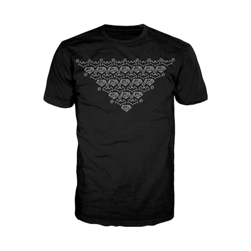 DC Comics Justice League Xmas Pattern Triangle Official Men's T-shirt (Black) - Urban Species Mens Short Sleeved T-Shirt