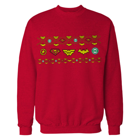 DC Comics Justice League Xmas Pattern Tube Official Sweatshirt (Red) - Urban Species Mens Sweatshirt