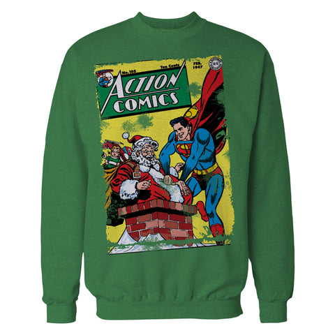 DC Comics Superman Cover 105 Xmas Official Sweatshirt (Green) - Urban Species Sweatshirt