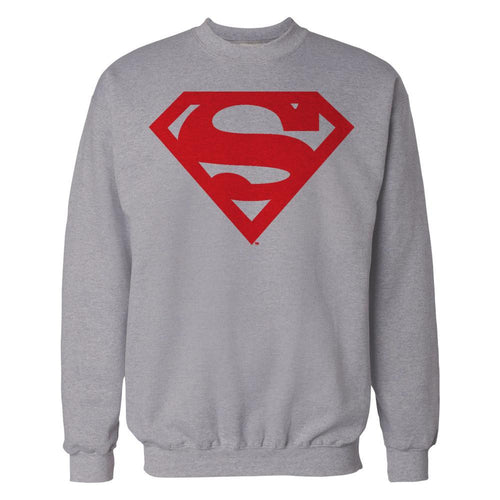 DC Comics Superman Logo Red Shield Official Sweatshirt (Heather Grey) - Urban Species Mens Sweatshirt