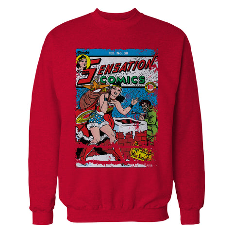 DC Comics Wonder Woman Cover 38 Xmas Official Sweatshirt (Red) - Urban Species Sweatshirt