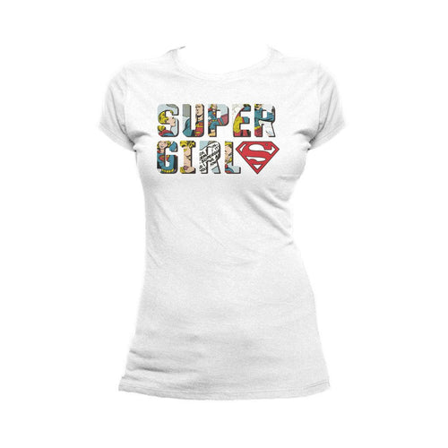 DC Comics Supergirl Logo Comic Strip Official Women's T-shirt (White) - Urban Species Ladies Short Sleeved T-Shirt