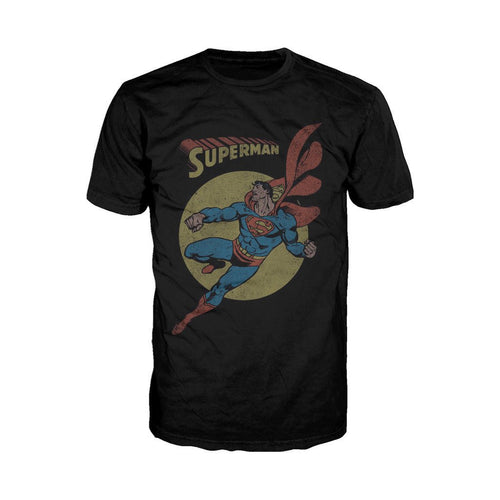 DC Comics Superman Character Pose Classic Official Men's T-shirt (Black) - Urban Species Mens Short Sleeved T-Shirt