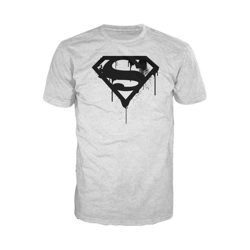 DC Comics Superman Logo Doomsday Graff Official Men's T-shirt (Heather Grey) - Urban Species Mens Short Sleeved T-Shirt