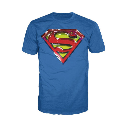 DC Comics Superman Logo Glass Official Men's T-shirt (Royal Blue) - Urban Species Mens Short Sleeved T-Shirt