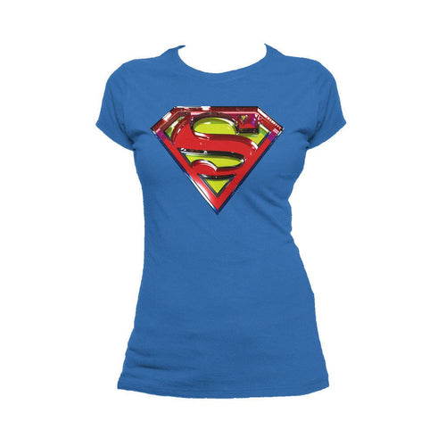 DC Comics Superman Logo Glass Official Women's T-shirt (Royal Blue) - Urban Species Ladies Short Sleeved T-Shirt