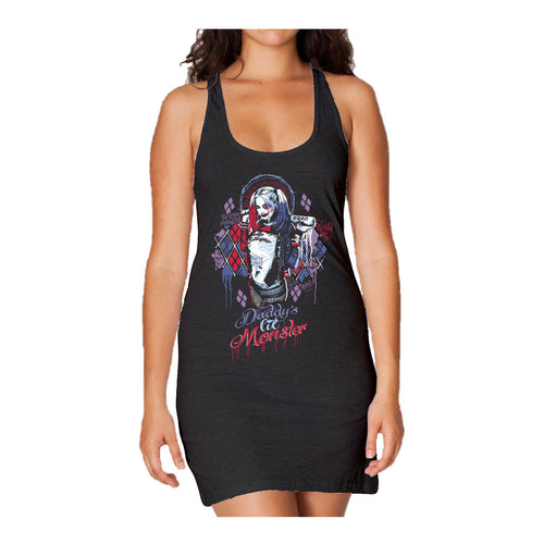 DC Suicide Squad Harley Quinn Lil Monster Official Women's Long Tank Dress (Black) - Urban Species Ladies Long Tank Dress