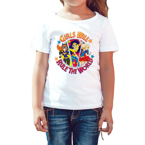 DC Comics Super Hero Girls Group Batgirl Wonder Woman Supergirl Rule The World Profile Official Kid's T-Shirt (White)