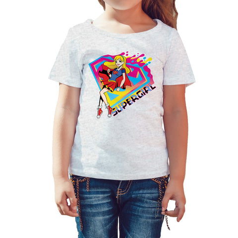 DC Comics Super Hero Girls Supergirl Logo Drips Official Kid's T-Shirt (Heather Grey)