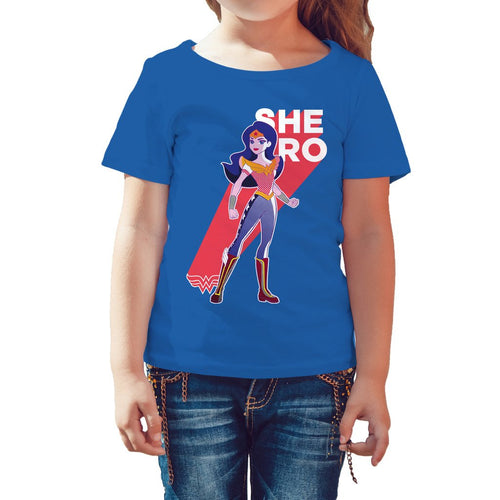 DC Comics Super Hero Girls Wonder Woman Pop Shero Official Kid's T-Shirt (Royal Blue) - Urban Species Kids Short Sleeved T-Shirt