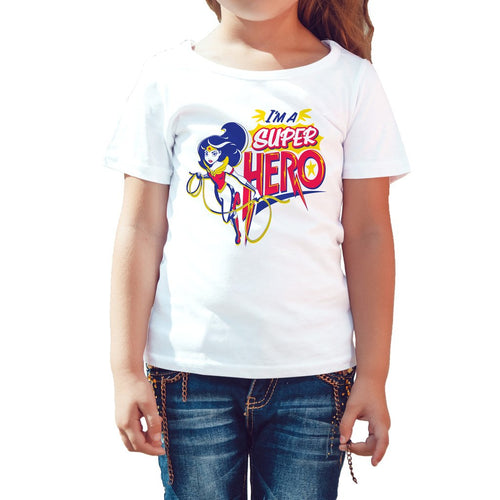 DC Comics Super Hero Girls Wonder Woman Text Super Hero Official Kid's T-Shirt (White) - Urban Species Kids Short Sleeved T-Shirt