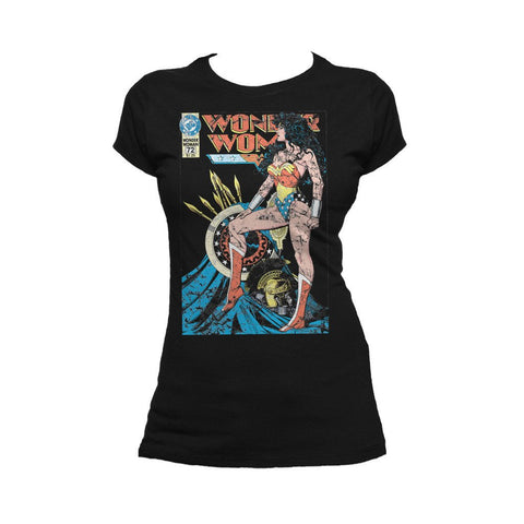 DC Comics Wonder Woman Cover #55 Official Women's T-shirt (Black) - Urban Species Ladies Short Sleeved T-Shirt