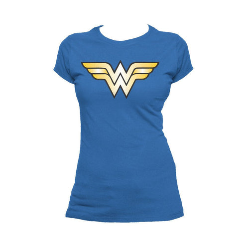 DC Comics Wonder Woman Logo Classic Official Women's T-shirt (Royal Blue) - Urban Species Ladies Short Sleeved T-Shirt