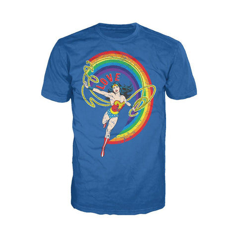 DC Comics Wonder Woman Rainbow Love Official Men's T-shirt (Royal Blue) - Urban Species Mens Short Sleeved T-Shirt