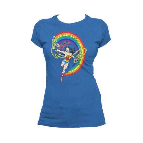 DC Comics Wonder Woman Rainbow Love Official Women's T-shirt (Royal Blue) - Urban Species Ladies Short Sleeved T-Shirt