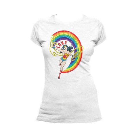DC Comics Wonder Woman Rainbow Love Official Women's T-shirt (White) - Urban Species Ladies Short Sleeved T-Shirt