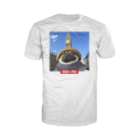 Doug The Pug Big Ben Pug Official Men's T-shirt (White) - Urban Species Mens Short Sleeved T-Shirt