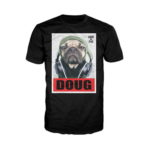 Doug The Pug Headphones Official Men's T-shirt (Black) - Urban Species Mens Short Sleeved T-Shirt