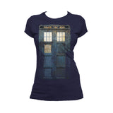Doctor Who Cosplay Tardis Distressed Official Women's T-shirt (Navy)