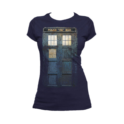 Doctor Who Cosplay Tardis Distressed Official Women's T-shirt (Navy) - Urban Species Ladies Short Sleeved T-Shirt