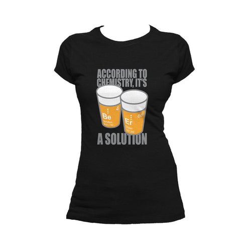 I Love Science Be-Er: It's A Solution Official Women's T-shirt (Black) - Urban Species Ladies Short Sleeved T-Shirt