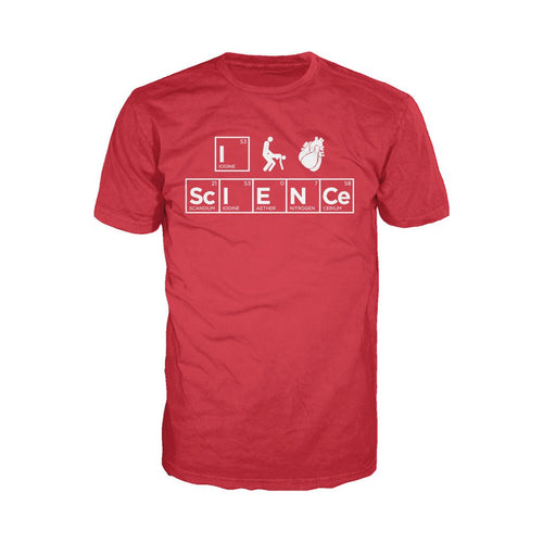 I Love Science I (Stick Figure Anatomical Heart) Science Official Men's T-shirt (Red) - Urban Species Mens Short Sleeved T-Shirt