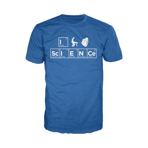 I Love Science I (Stick Figure Anatomical Heart) Science Official Men's T-shirt (Royal Blue) - Urban Species Mens Short Sleeved T-Shirt