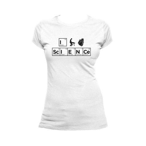 I Love Science I (Stick Figure Anatomical Heart) Science Official Women's T-shirt (White)
