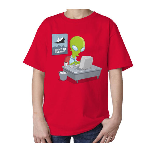 I Love Science I Want To Believe Official Kid's T-shirt (Red)