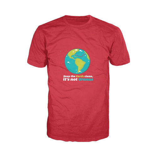 I Love Science Keep The Earth Clean It's Not Uranus Official Men's T-shirt (Red)