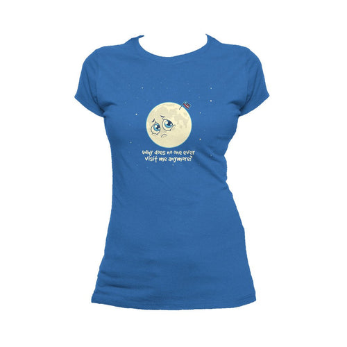 I Love Science Sad Moon Official Women's T-shirt (Royal Blue)