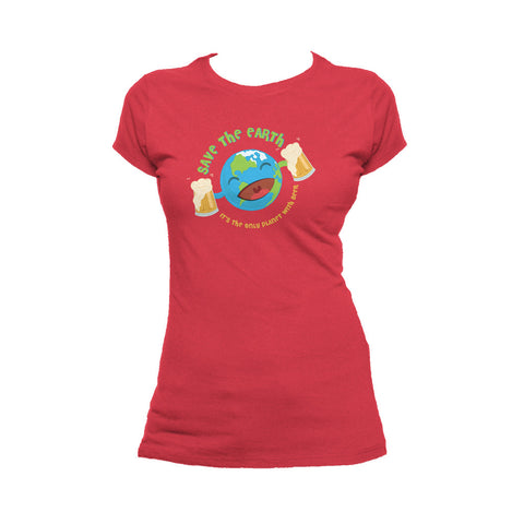 I Love Science Save The Earth - Beer Official Women's T-shirt (Red)