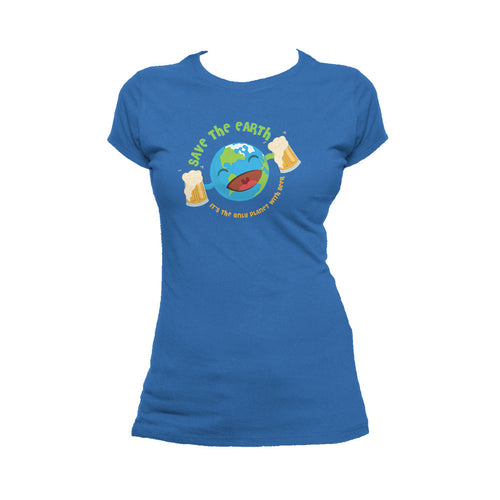 I Love Science Save The Earth - Beer Official Women's T-shirt (Royal Blue)