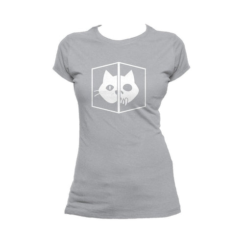I Love Science Schrodinger's Cat Official Women's T-shirt (Heather Grey) - Urban Species Ladies Short Sleeved T-Shirt