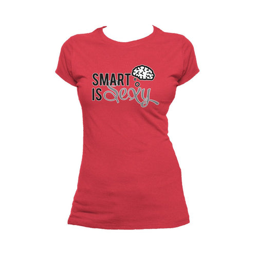 I Love Science Smart Is Sexy Official Women's T-shirt (Red) - Urban Species Ladies Short Sleeved T-Shirt