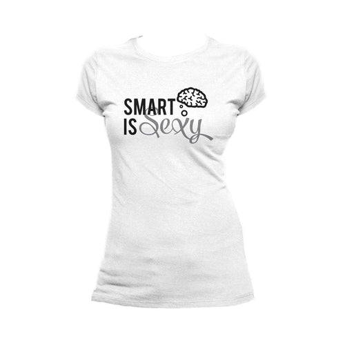 I Love Science Smart Is Sexy Official Women's T-shirt (White) - Urban Species Ladies Short Sleeved T-Shirt
