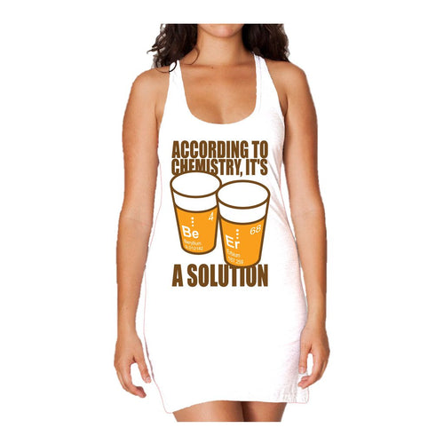 I Love Science Be-Er: It's A Solution Official Women's Long Tank Dress (White) - Urban Species Ladies Long Tank Dress