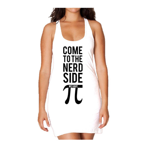 I Love Science Come To The Nerd Side We Have Pi Official Women's Long Tank Dress (White)