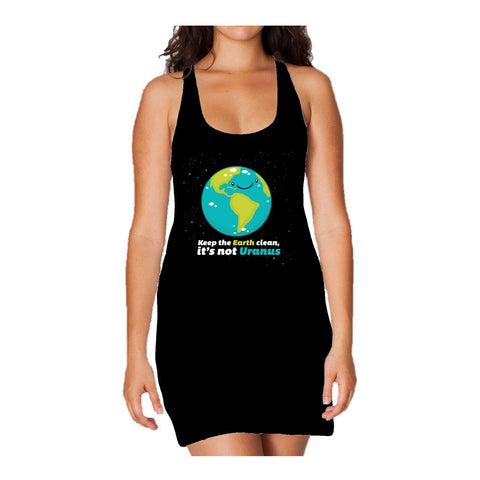 I Love Science Keep The Earth Clean It's Not Uranus Official Women's Long Tank Dress (Black)