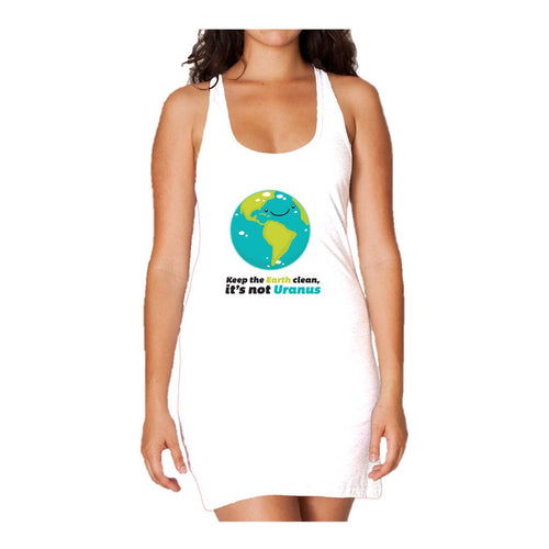 I Love Science Keep The Earth Clean It's Not Uranus Official Women's Long Tank Dress (White)