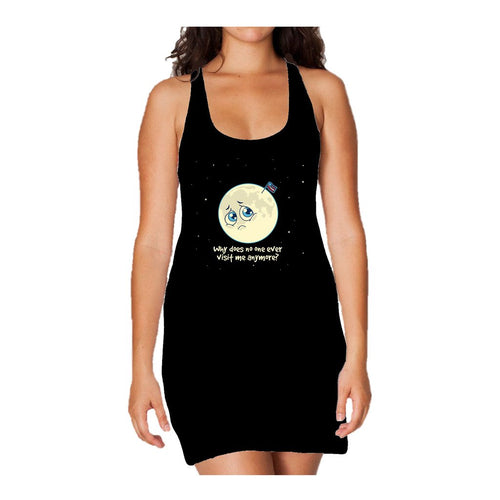I Love Science Sad Moon Official Women's Long Tank Dress (Black) - Urban Species Ladies Long Tank Dress