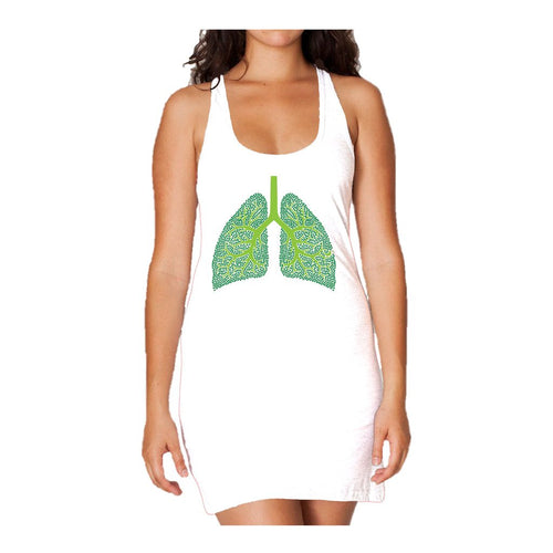 I Love Science Trees Are The Lungs Of Earth Official Women's Long Tank Dress (White)