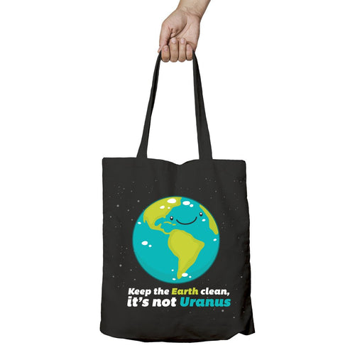 I Love Science Keep the Earth Clean It's Not Uranus Official Tote Bag (Black)