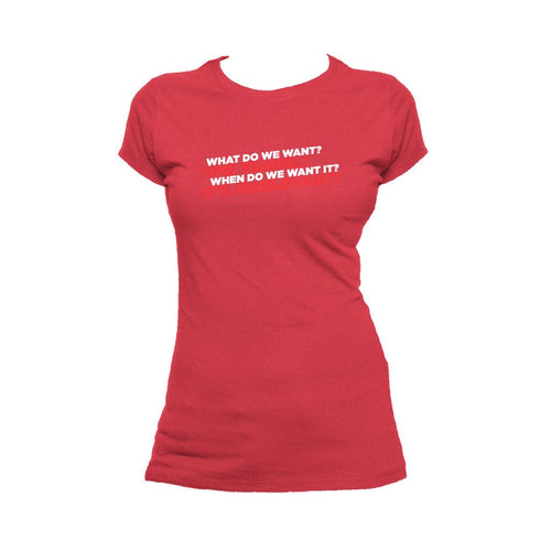 I Love Science Time Travel Official Women's T-shirt (Red)
