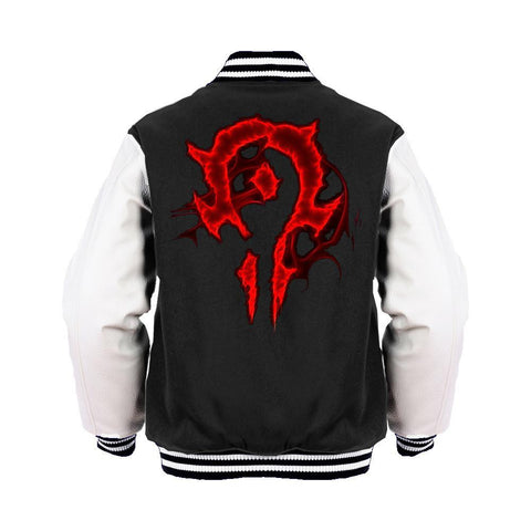 Warcraft Horde Logo Glow Official Varsity Jacket (Black) - Urban Species Varsity Jacket