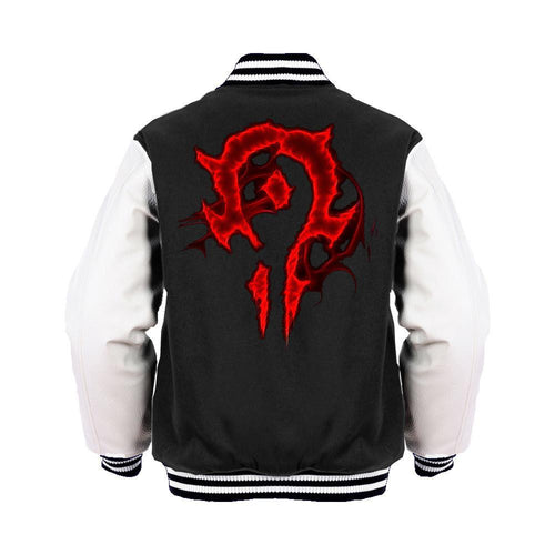 Warcraft Horde Logo Glow Official Varsity Jacket (Black) - Urban Species Mens Varsity Jacket